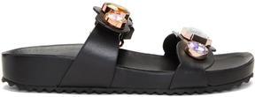 Sophia Webster Black Leather Becky Gem Slides