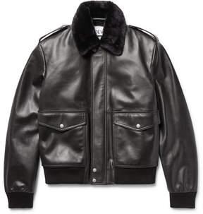 Loewe Shearling-Trimmed Leather Bomber Jacket