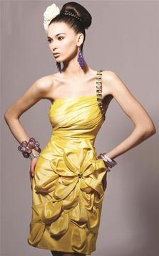 Blush Lingerie One Shoulder Strap Floral Cocktail Dress 9152