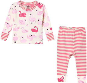 Hatley Cream Pink Dancing Swans Long Sleeve Mini Pajama Set