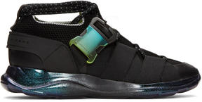 Christopher Kane Black Lace-Up and Buckle Sneakers