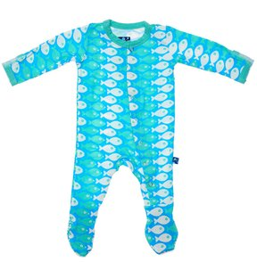 Kickee Pants Infant Footie - Confetti Piranha