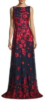 Theia Floral-Print Gown