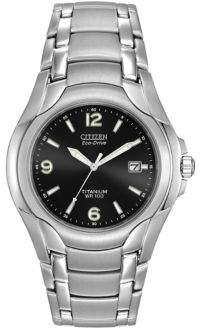 Citizen Mens Eco-Drive Black-Dial Titanium Watch