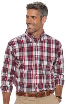 Haggar Men's Classic-Fit Plaid Stretch Poplin Button-Down Shirt