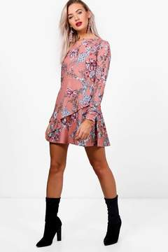 boohoo Floral Double Frill Skater Dress