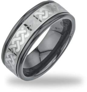 Armani Exchange Jewelry Men's Tungsten Black Ceramic Laser-Etched Band Ring