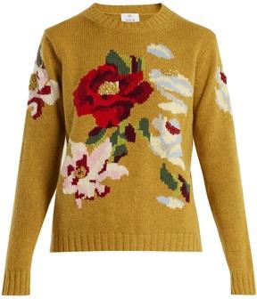 Allude Floral-intarsia cashmere sweater