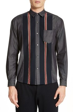 TOMORROWLAND Men's Tricot Stripe Sport Shirt