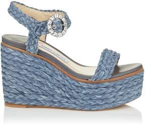 Jimmy Choo NYLAH 100 Dusk Blue Raffia Wedge Sandals with Crystal Buckle