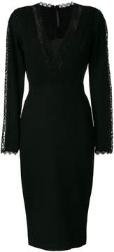 Ermanno Scervino lace panel long sleeve dress