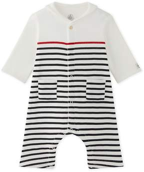 Petit Bateau Baby boys striped coverall with pea jacket collar