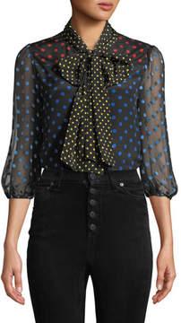 Alice + Olivia Jeannie Bow-Collar Blouson-Sleeve Button-Down Top