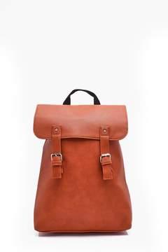 boohoo Tan PU Fold Over Strap Backpack