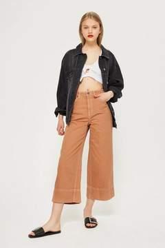 Topshop Moto tobacco cropped wide leg jeans