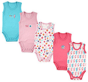 Luvable Friends Pink & White Seahorse Bodysuit Set - Newborn & Infant