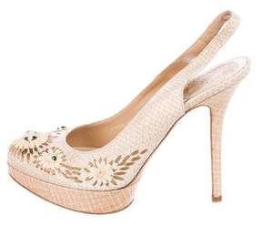Christian Dior Snakeskin Embellished Pumps