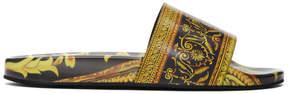 Versace Black and Gold Baroque Slides