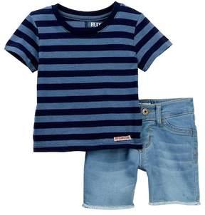 Hudson Cotton Stripe Jersey Tee & Shorts Set (Baby Boys)