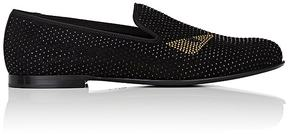 Fendi Men's Buggies Crystal-Embellished Suede Venetian Loafers