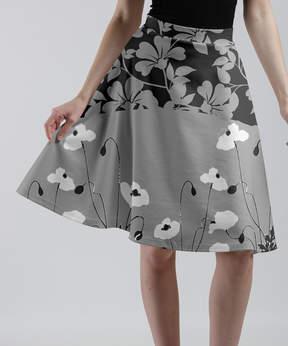 Lily Gray & Black Floral A-Line Skirt - Women & Plus
