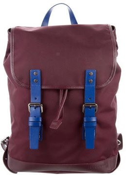 Longchamp Leather-Trimmed Woven Backpack - BLUE - STYLE