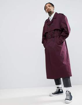 Asos DESIGN oversized trench coat in burgundy
