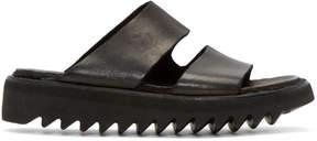 Guidi Black Leather Double Strap Sandals