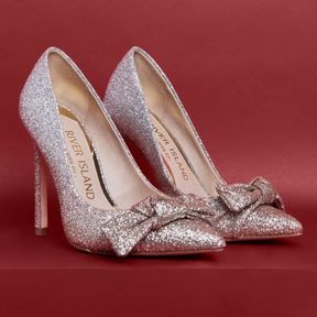 River Island Womens Gold wide fit ombre glitter bow pumps