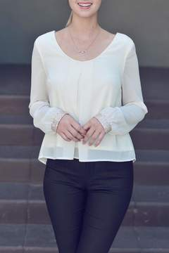 Double Zero Embellished Wrist Chiffon Top
