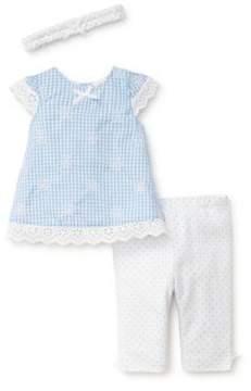 Little Me Baby Girl's Three-Piece Cotton Gingham Tunic, Polka-Dot Leggings and Headband Set