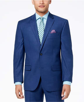 Sean John Men's Classic-Fit Stretch Solid Blue Textured-Grid Suit Jacket