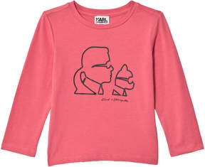 Karl Lagerfeld Pink and Choupette Print Long Sleeve Tee