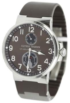 Ulysse Nardin Marine Chronometer 263-66 Stainless Steel Brown Dial Rubber Strap 41mm Watch