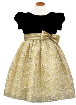 Sorbet Girl's Velvet & Lace Dress