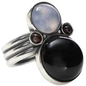 Bottega Veneta Sterling silver ring with chalcedony, garnet and onyx