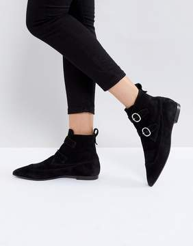 AllSaints Pointed Buckle Detail Boots in Suede
