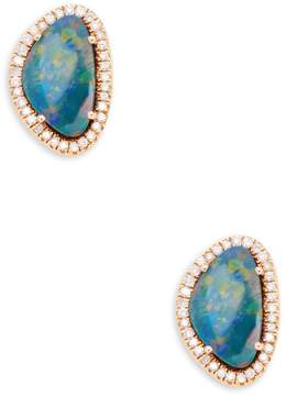 Artisan Women's Slice Opal & Diamond Stud Earrings