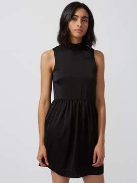 Frank and Oak Satin Sleeveless Mock-Neck Dress in True Black