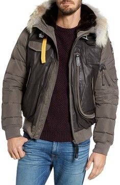 Parajumpers Men's Leather Trim Down Bomber Jacket With Genuine Coyote Fur & Faux Fur