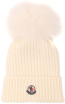 Moncler Wool Rib Knit Hat W/ Fox Fur Pompom