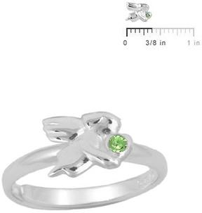 Ice Silver August Birthstone Angel Adjustable RIng for Girls (Size 3 to 7)