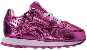 Reebok Girls' Toddler Classic Leather Metallic Casual Shoes