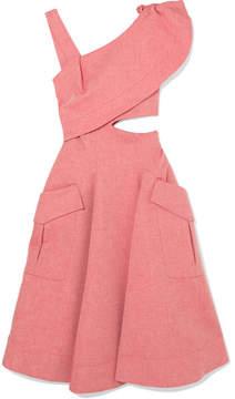 Carven Asymmetric Cutout Cotton-blend Chambray Midi Dress - Pink