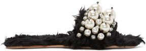 Miu Miu Black Eco Shearling Pearl Slides