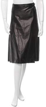 Calvin Klein Collection Leather Knee-Length Skirt