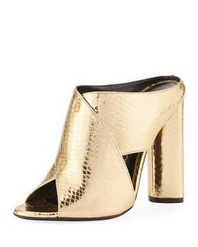 Tom Ford Snakeskin Crisscross 105mm Slide Sandal, Gold