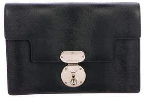 Giorgio Armani Textured Leather Push-Lock Clutch