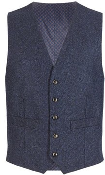 Marks and Spencer Pure New Wool Tailored Fit Herringbone 5 Button Waistcoat
