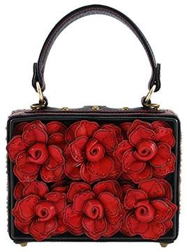 Mary Frances Love Story 3-D Roses Top Handle Bag